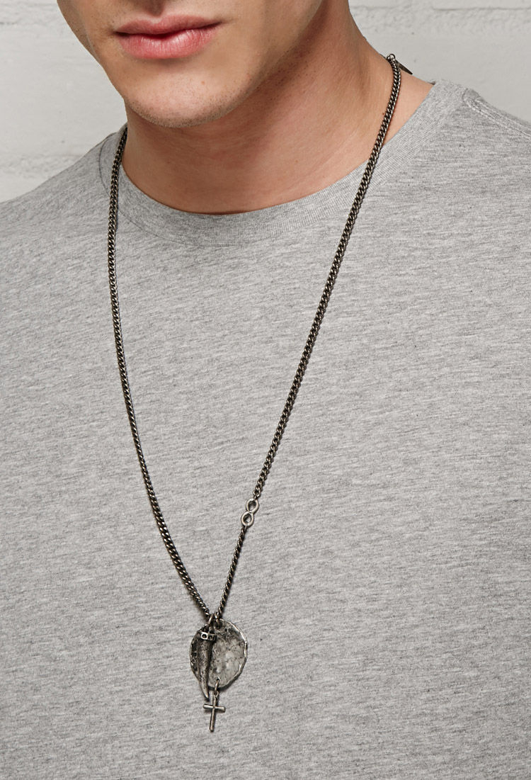 Lyst forever 21 men ettika disc and italian horn chain necklace in gallery aloadofball Gallery