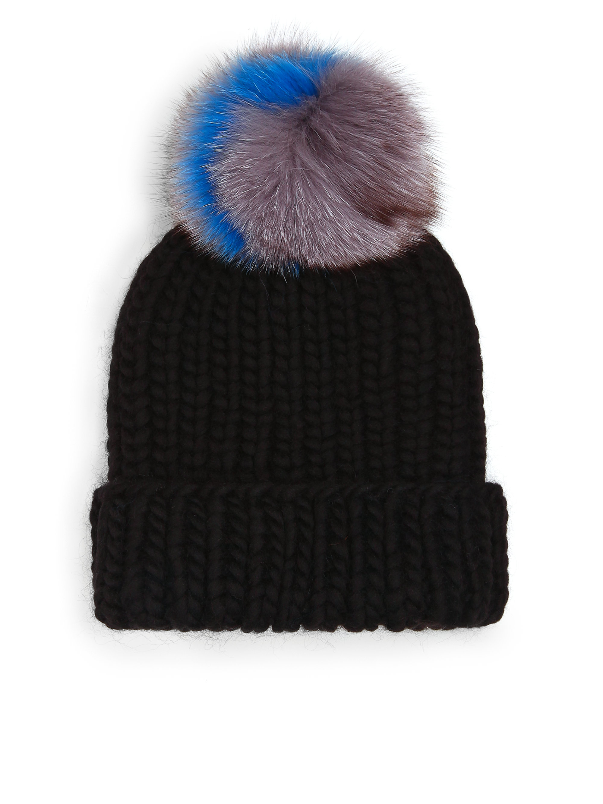 a39704ae56f Lyst - Eugenia Kim Rain Fox Fur Pom-pom Wool Beanie in Black