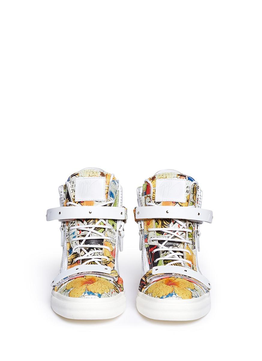 Giuseppe Zanotti 'london' Comic Strip Print Leather High Top Sneakers