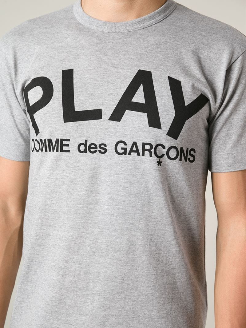 Play Comme Des Gar Ons Logo Print T Shirt In Gray For Men