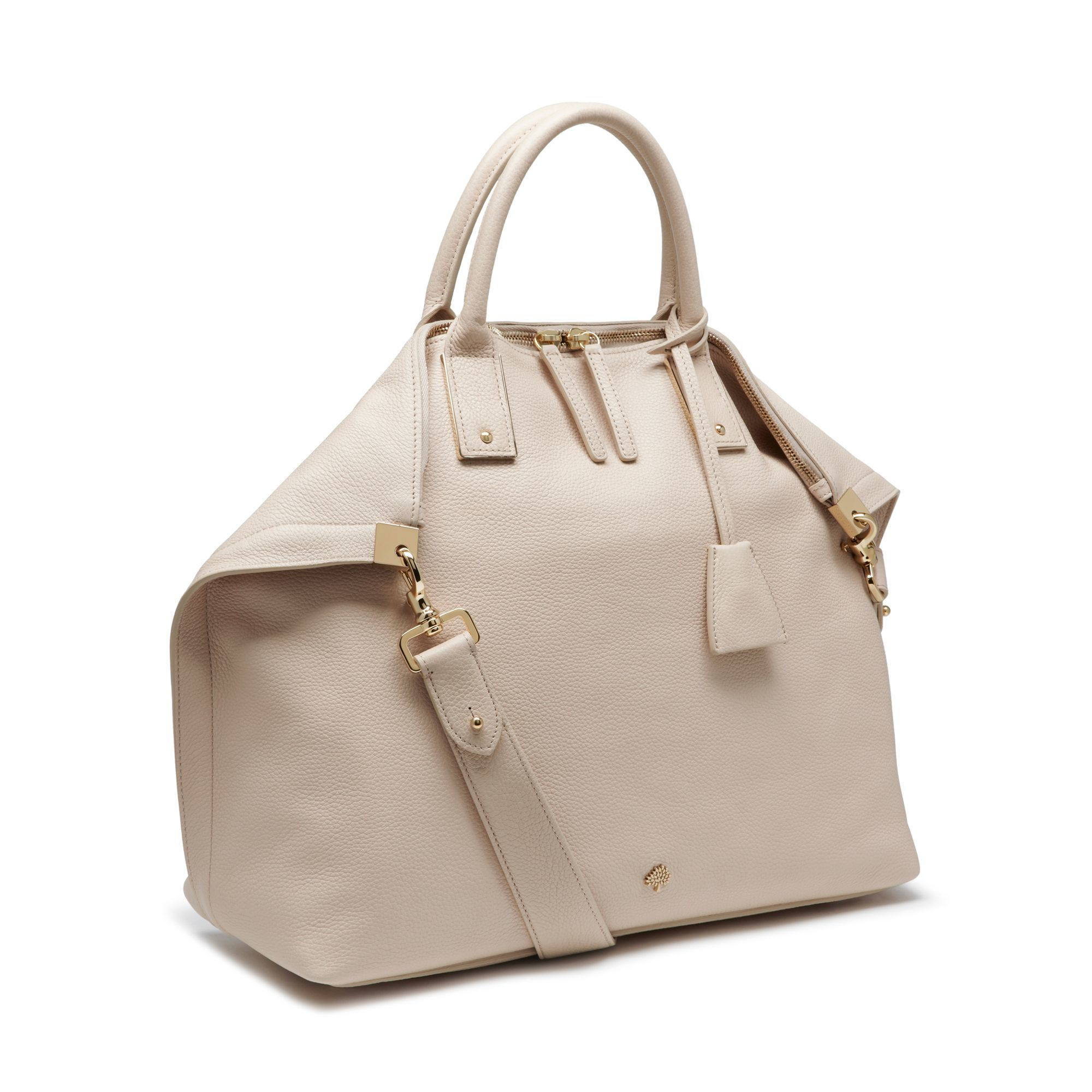 Lyst - Mulberry Alice Zipped Leather Tote in Natural 0648337db2805