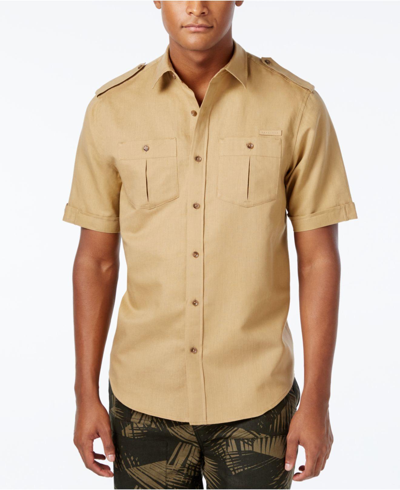 Sean john men 39 s solid linen short sleeve shirt in brown for Sean john t shirts for mens