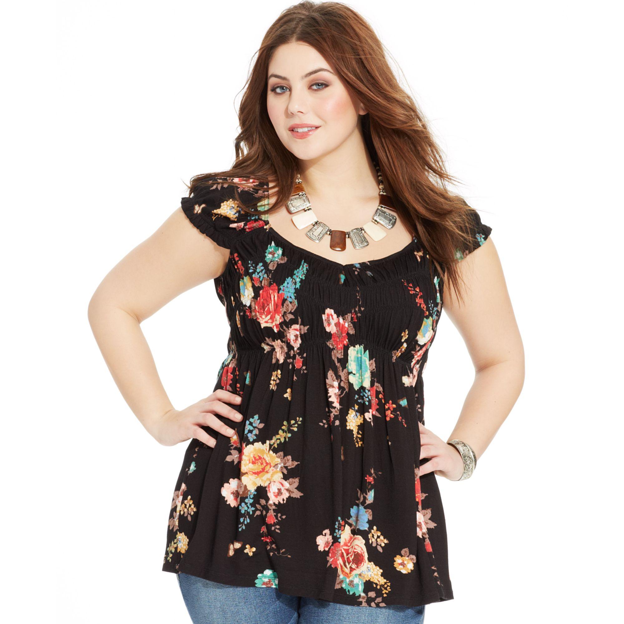 American Rag Plus Size Short Sleeve Floral Print Babydoll Top In Black Lyst