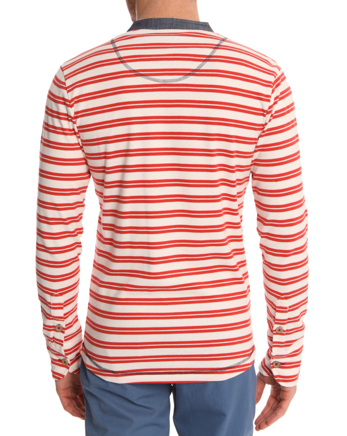 knowledge cotton apparel red striped t shirt in red for men lyst. Black Bedroom Furniture Sets. Home Design Ideas