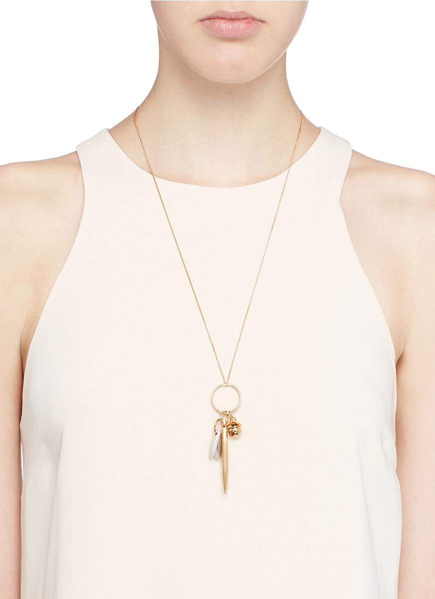 Chloé 'harlow' Mix Charm Brass Necklace in Metallic