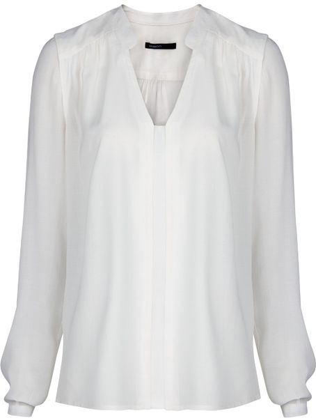 Mango Flowy Shirt in White (Off-White)   Lyst