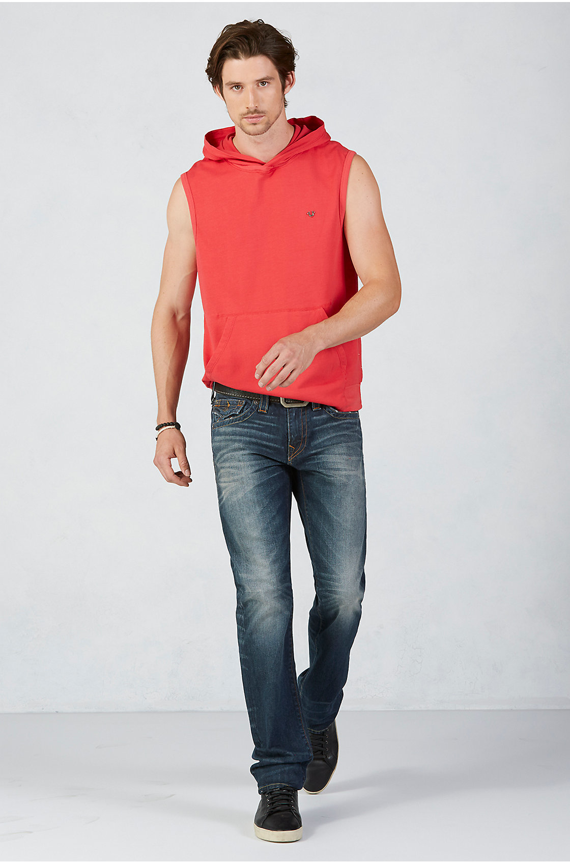 true religion pullover sleeveless mens hoodie in red for