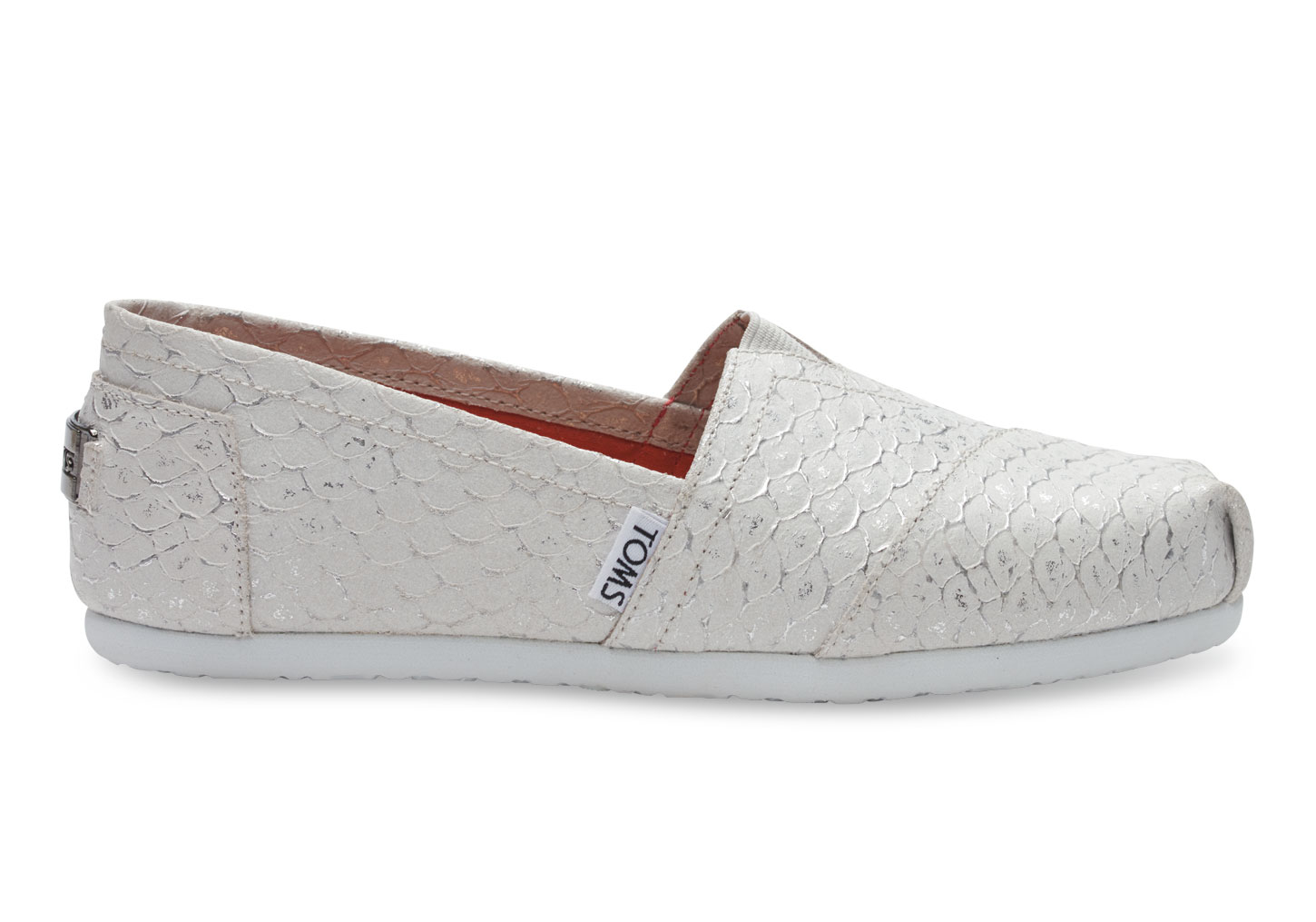 77ffd3cf9161 TOMS White Silver Leather Scales Women's Classics in White - Lyst