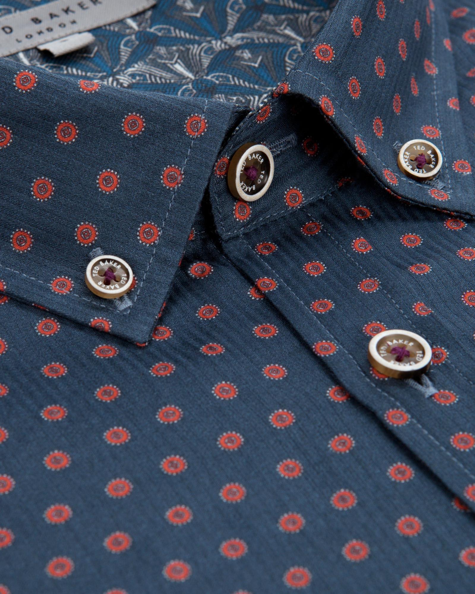 Lyst Ted Baker Geo Print Shirt In Blue For Men