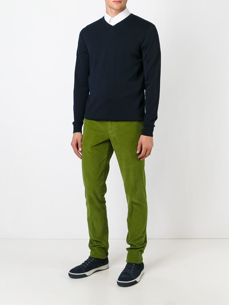 Incotex Corduroy Slim Trousers in Green for Men