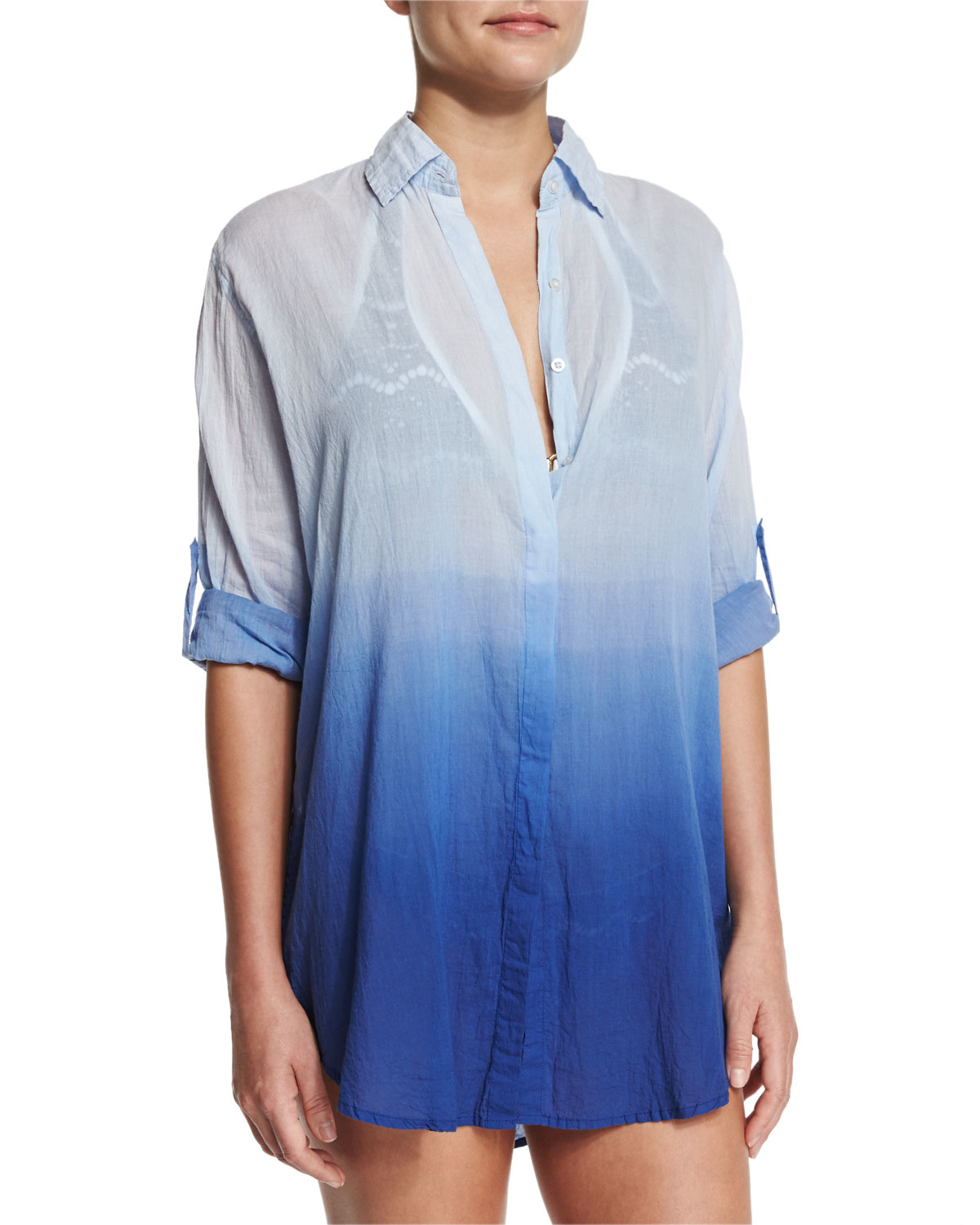 Letarte midnight waves ombre button down coverup in blue for Mens dress shirt button covers