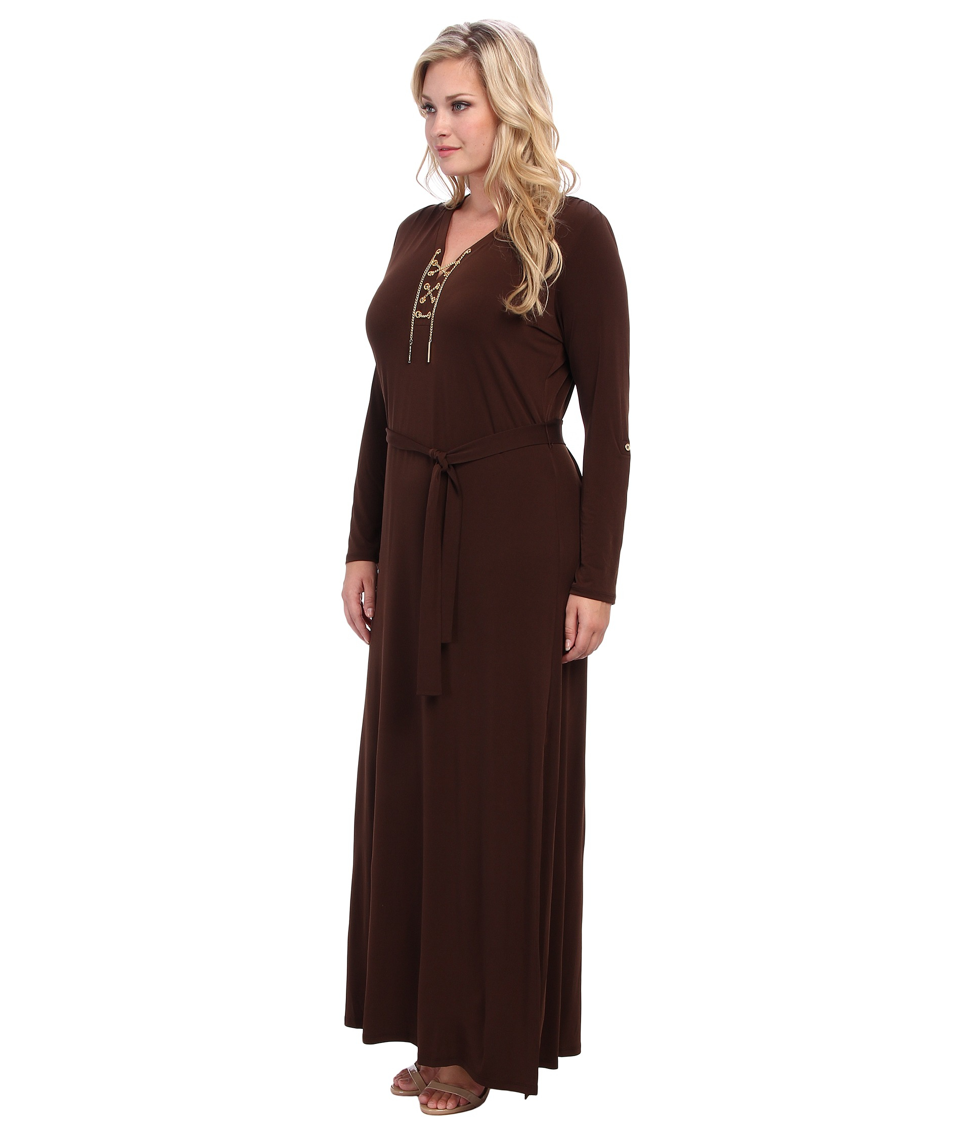 michael michael kors plus size maxi chain tie dress in brown | lyst