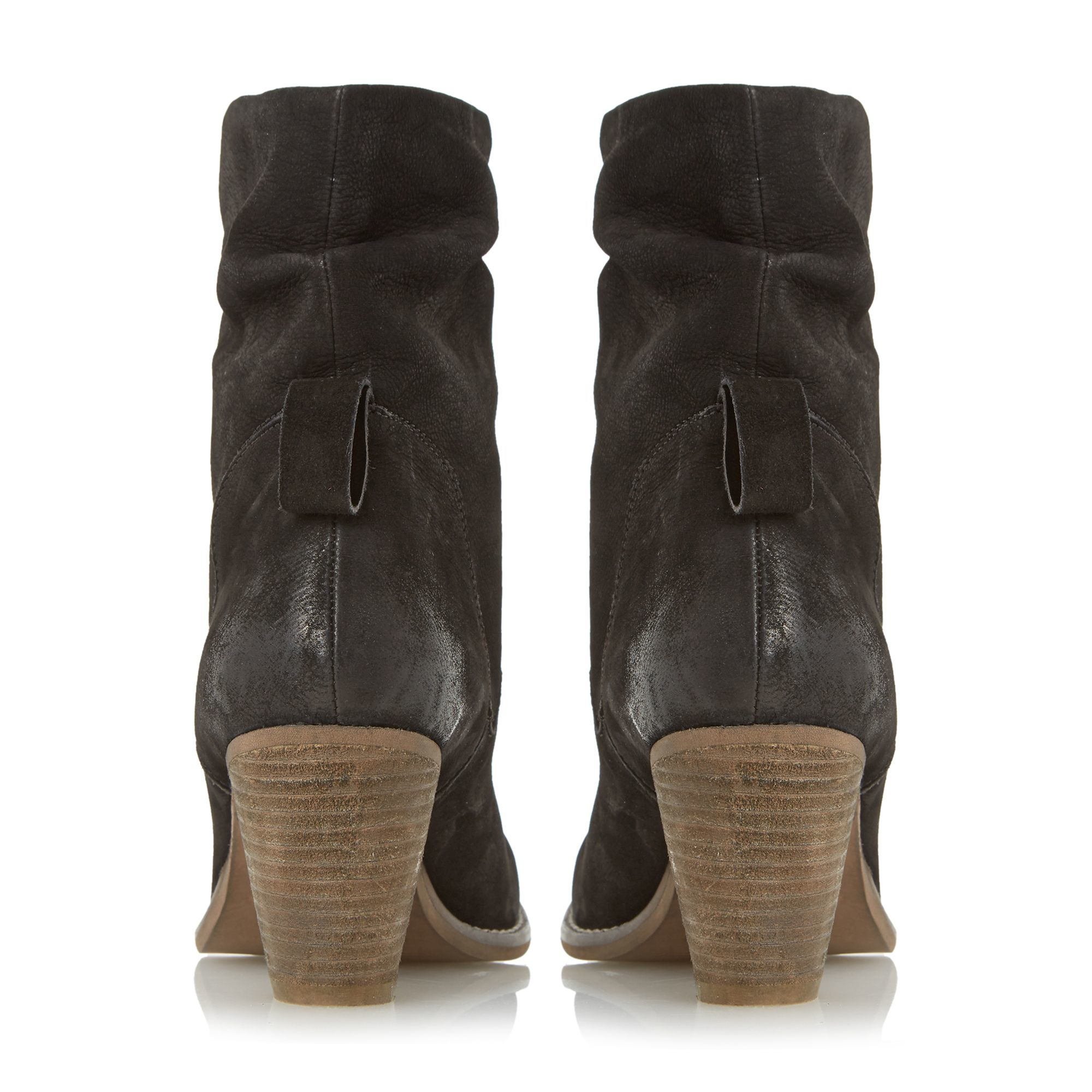 Dune Rosana Rouched Nubuck Calf Boots in Black