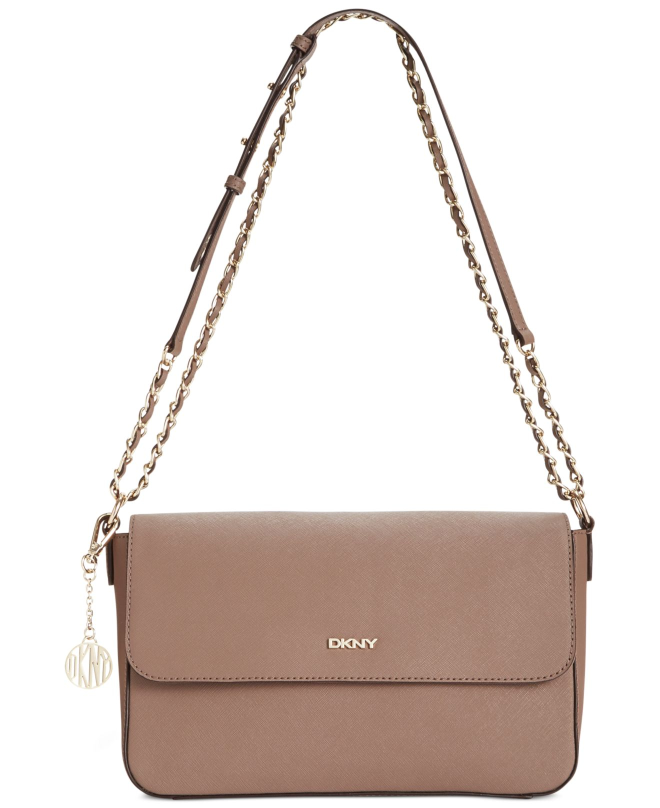 7e5cfb8606 Lyst Dkny Bryant Park Saffiano Medium Flap Crossbody In Brown