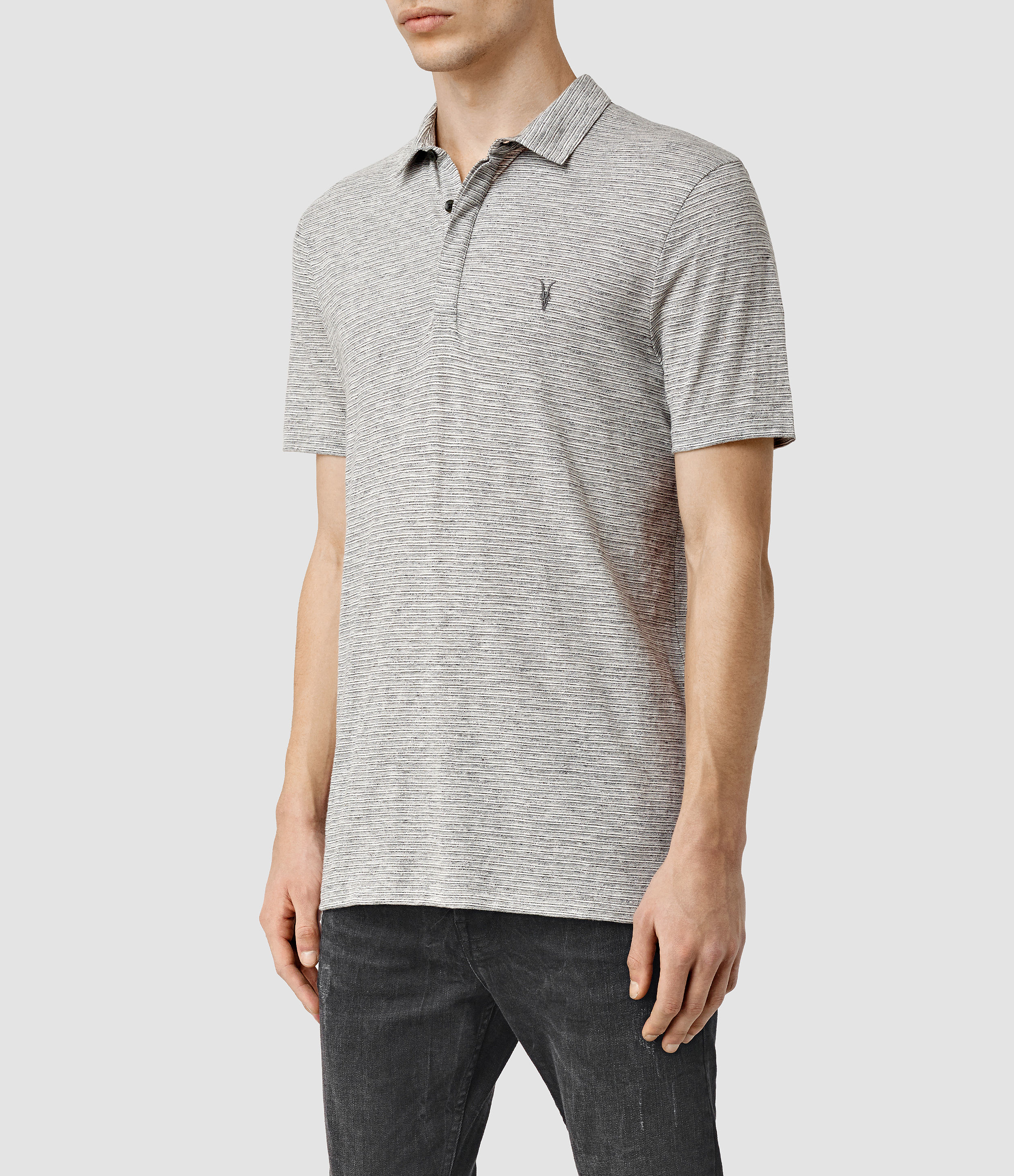 Lyst Allsaints Acer Polo Shirt Usa Usa In Gray For Men