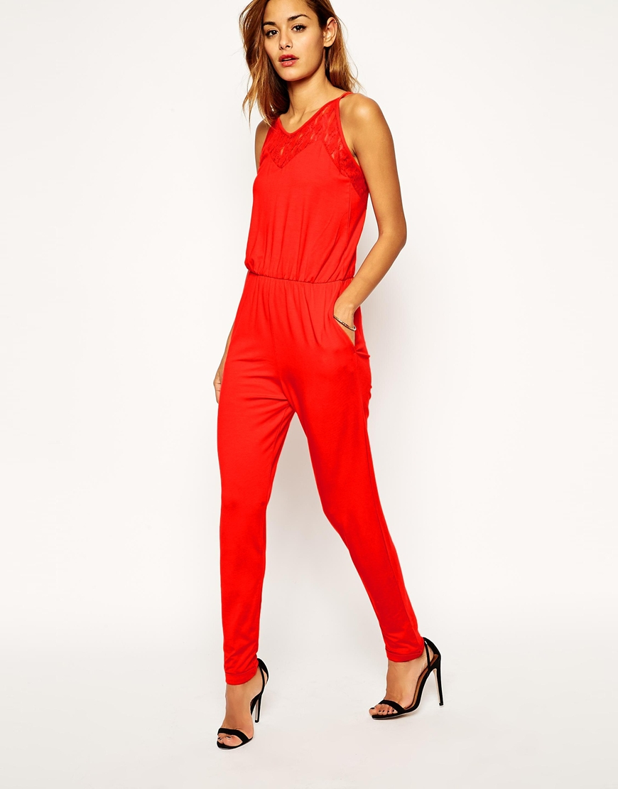 Asos Jumpsuit With Lace Insert in Red | Lyst