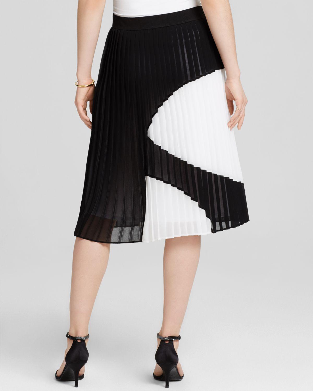 Bailey 44 Figata Pleated Skirt In White Black White Lyst