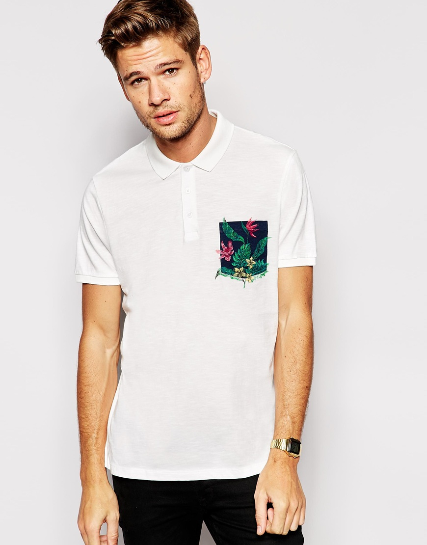 Asos Polo Shirt In Nepp Fabric With Floral Print Over