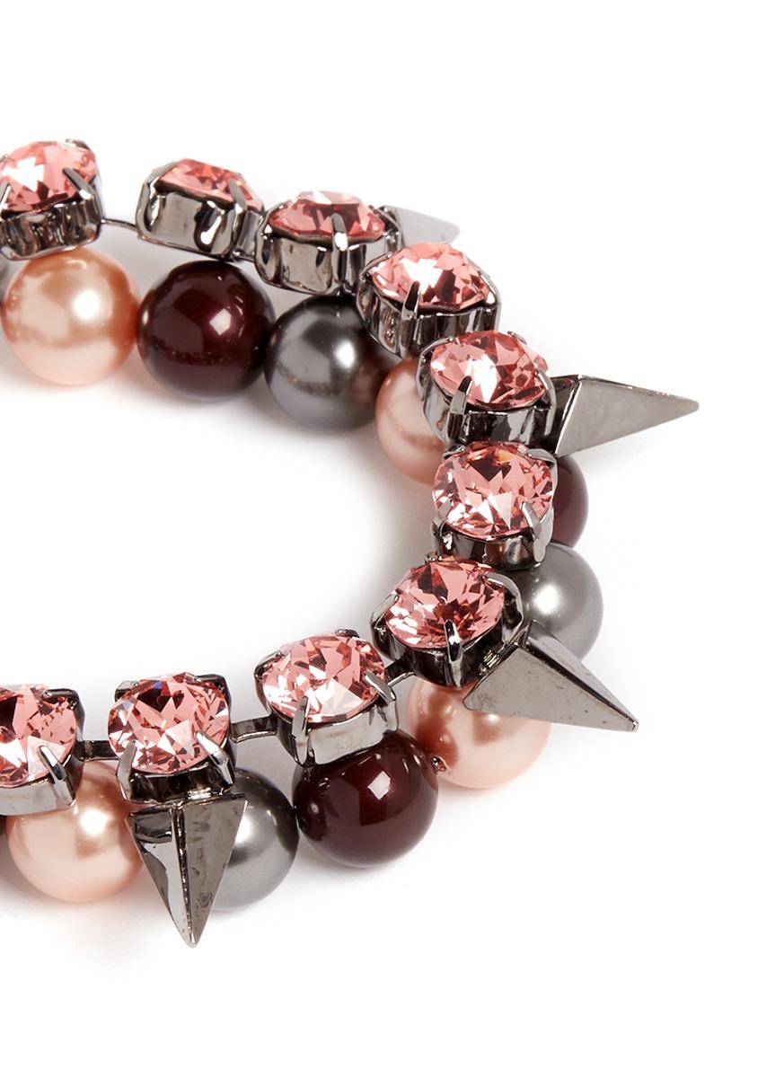 Joomi Lim Vicious Love Crystal Pearl Spike Bracelet In