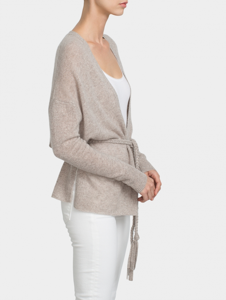 White + Warren Cashmere Braided Belt Cardigan in Gray - Lyst