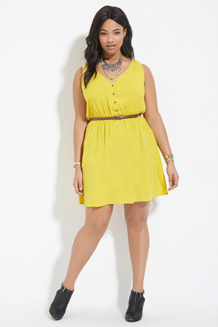 6dc9bda0382 Lyst - Forever 21 Plus Size Belted Dress in Yellow