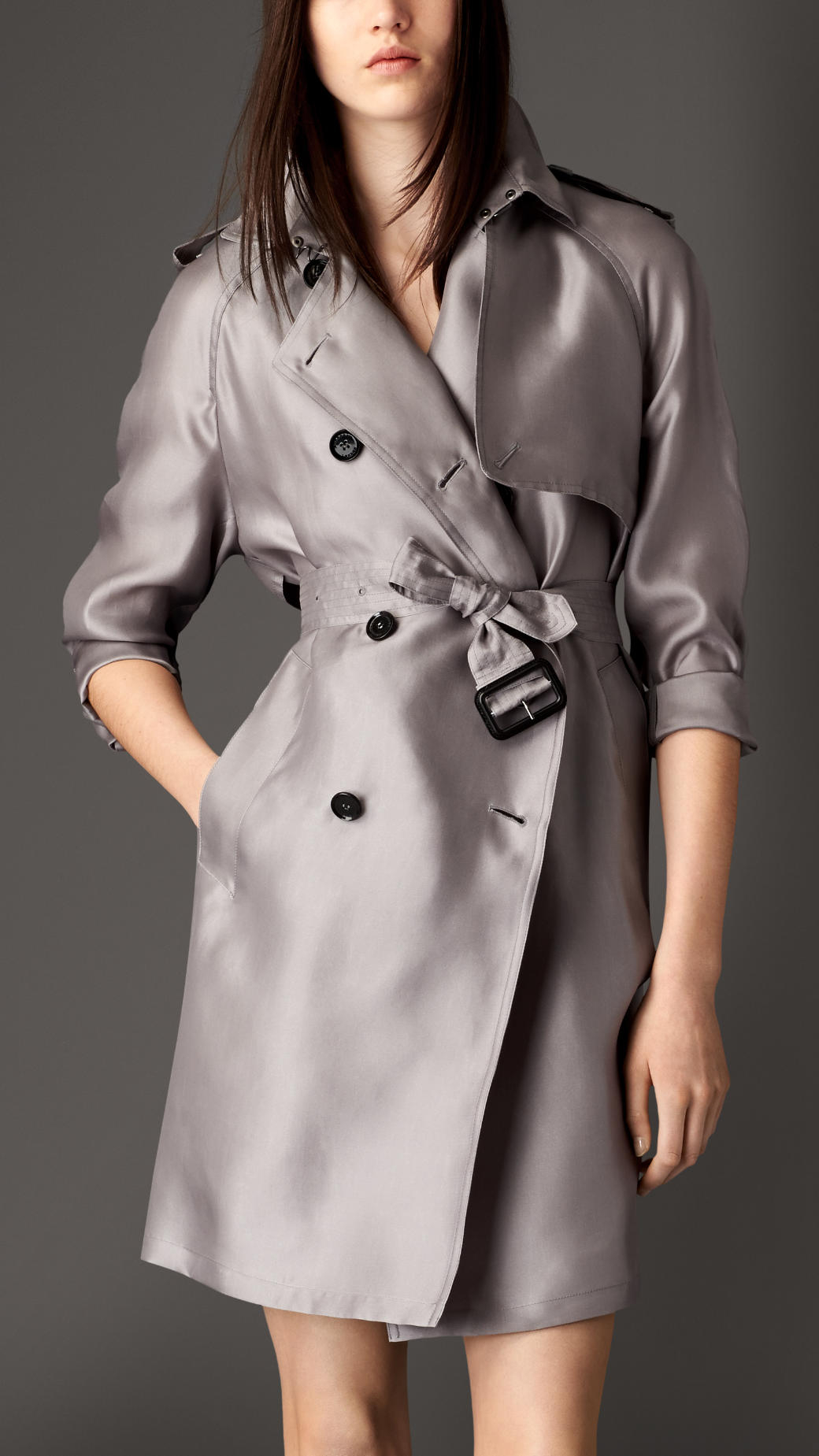 lyst burberry long oversize detail silk trench coat in gray. Black Bedroom Furniture Sets. Home Design Ideas