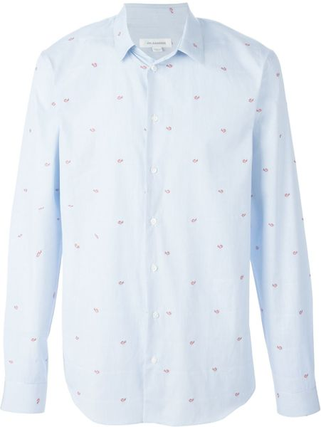Jil sander fish embroidered striped shirt in blue for men for Embroidered fishing shirts