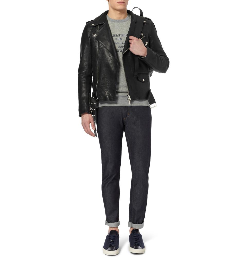 Lot78 Pebbledleather Biker Jacket in Black for Men