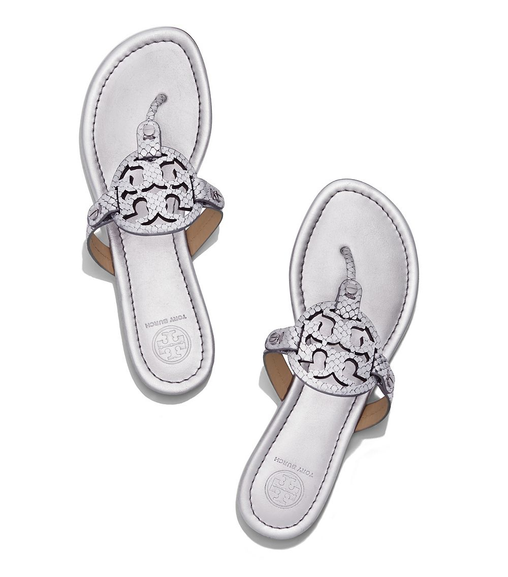 1903cb82c Lyst - Tory Burch Miller Leather Thong Sandals in Metallic