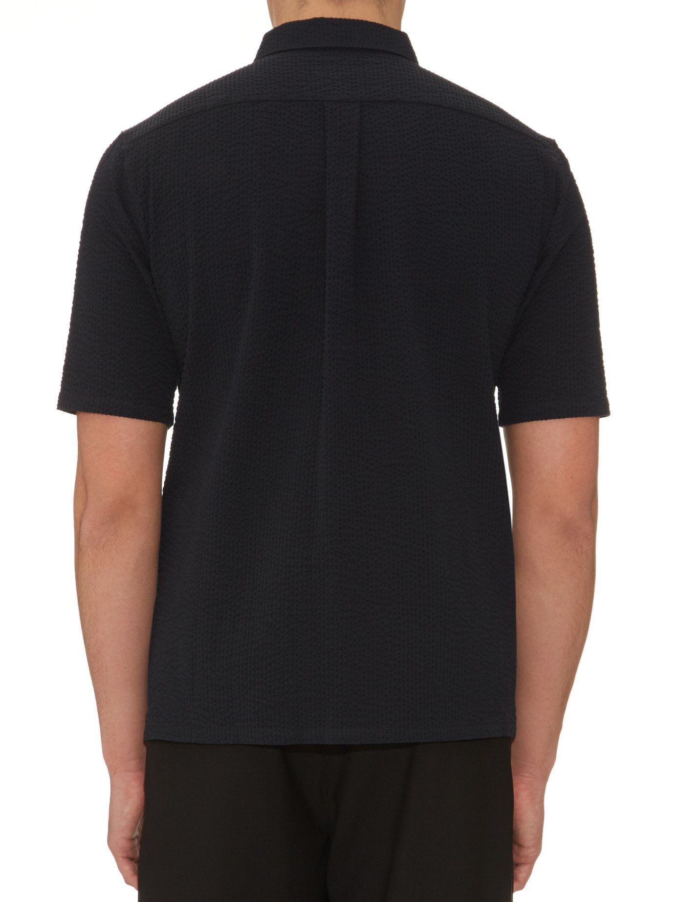 Lemaire spread collar cotton seersucker shirt in black for for Men s spread collar shirts