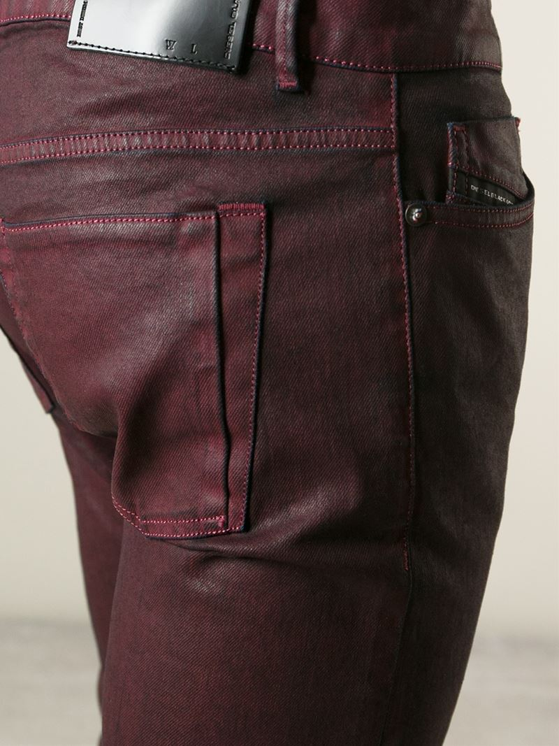 e35f925b51 Diesel Black Gold Coated Slim-Fit Jeans in Red for Men - Lyst