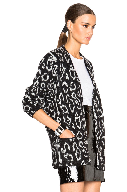 Saint laurent Oversized Leopard Cardigan in Black | Lyst