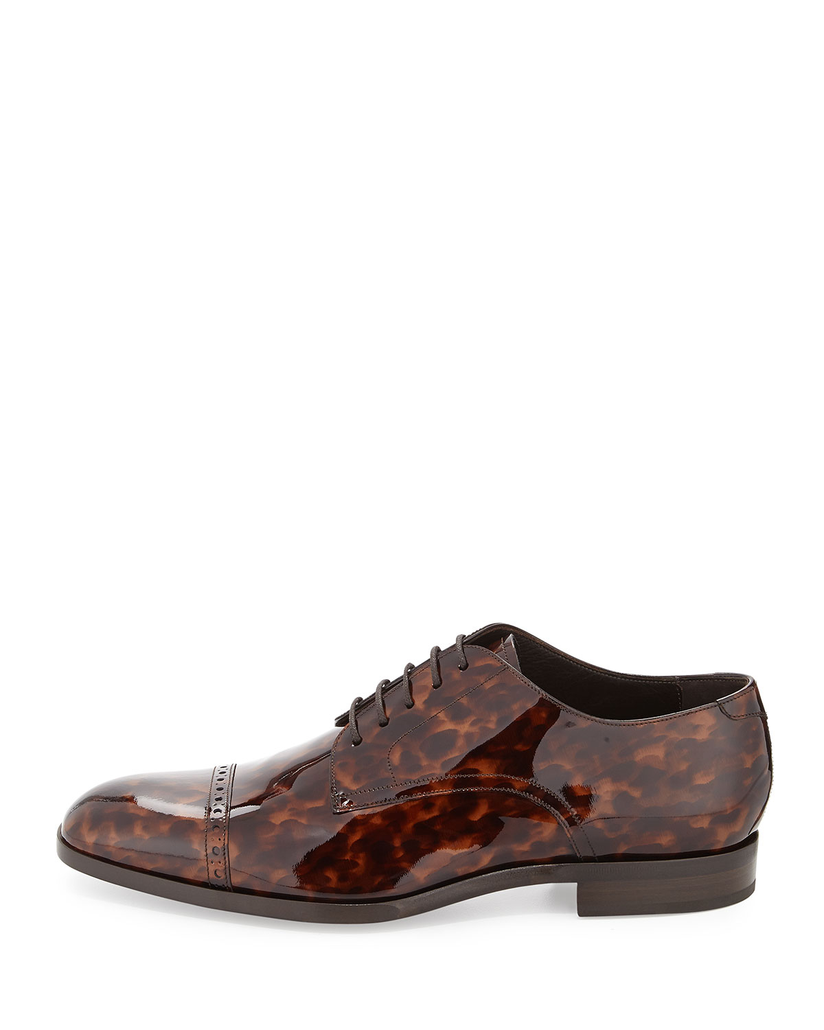 jimmy choo prescott turtle patent leather lace up shoe in