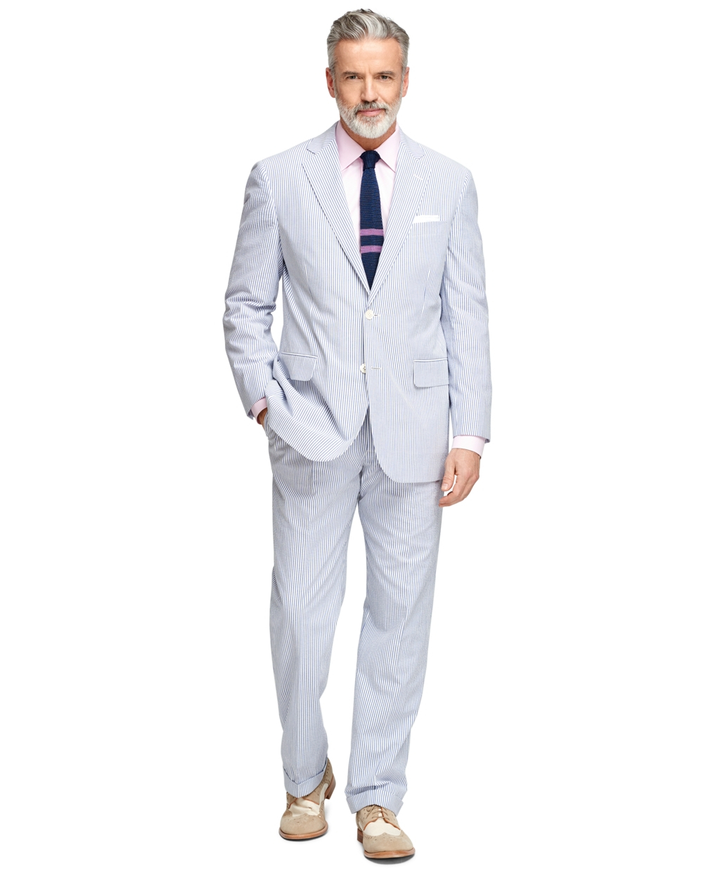 Brooks Brothers Cotton Madison Fit Seersucker Suit In Blue Ivory