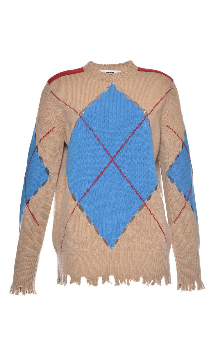 2035281ba713fa Lyst - MSGM Distressed Argyle Sweater in Blue
