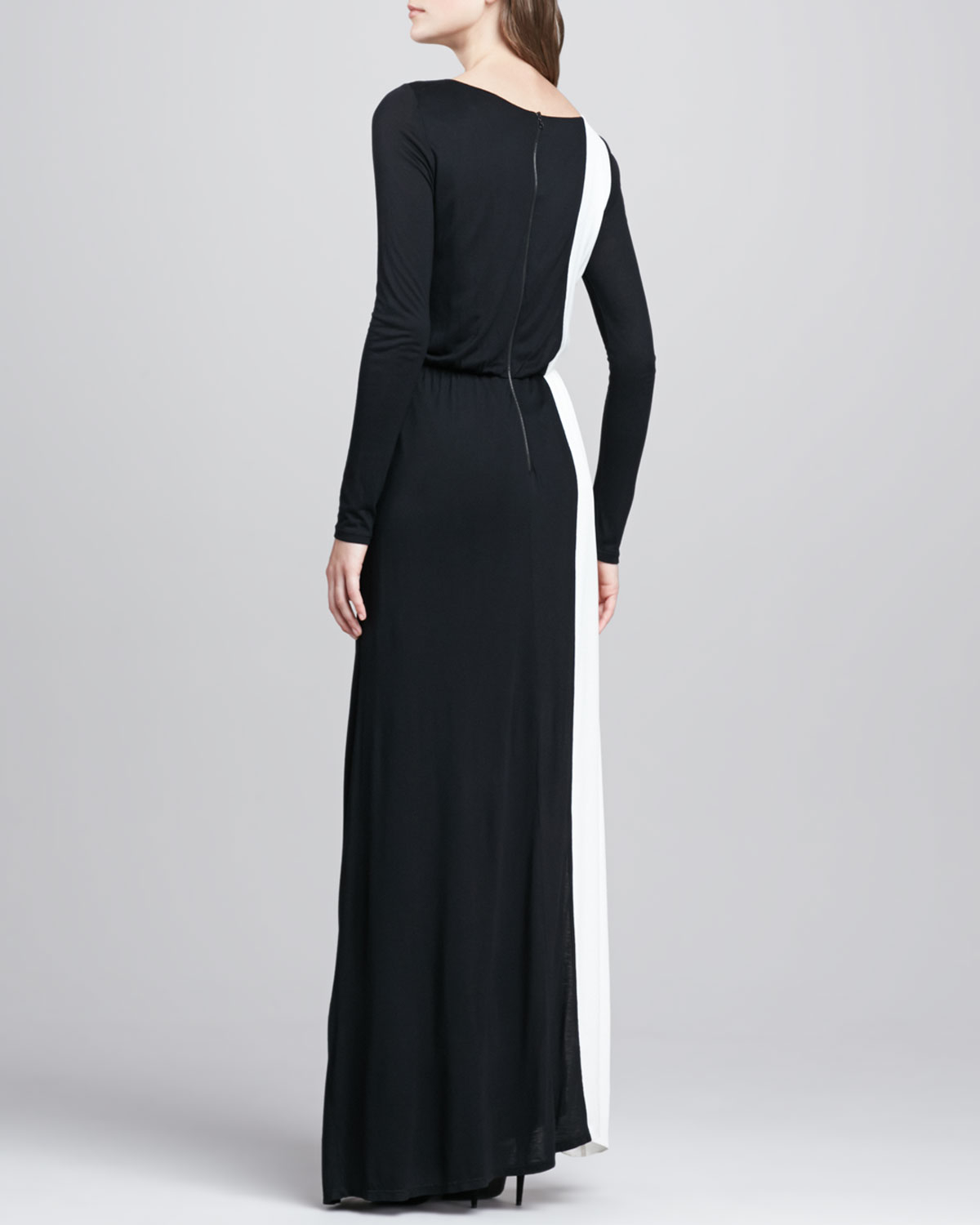 Alice Olivia Long Sleeve Two Tone Maxi Dress In Black