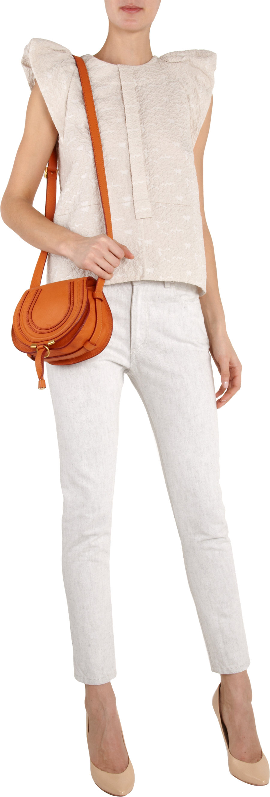 Chlo�� Marcie Small Saddle Bag in Orange | Lyst