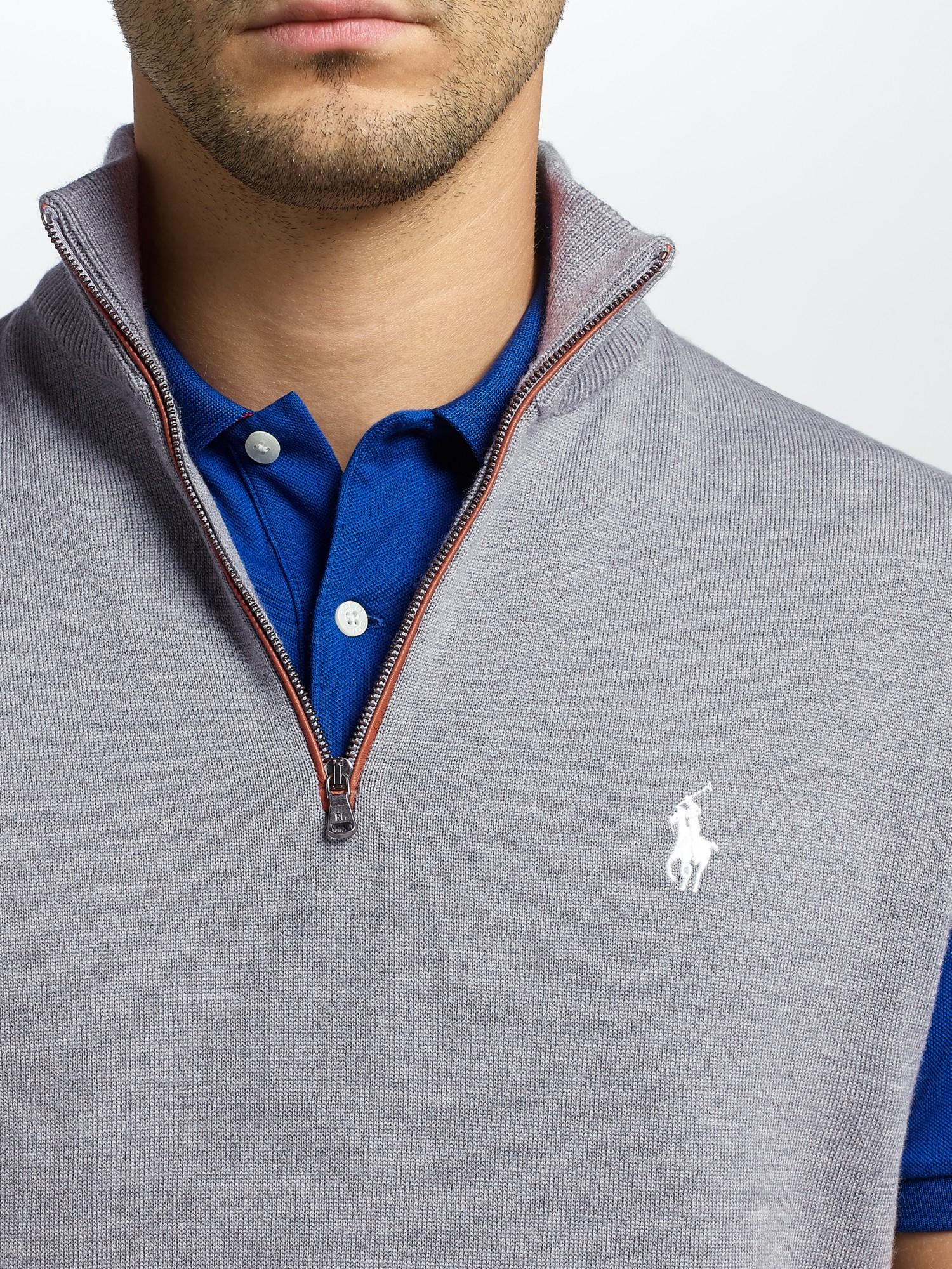 For Vest Merino Polo Half Zip In Lyst Lauren Men Wool Ralph Gray rCxoWBed
