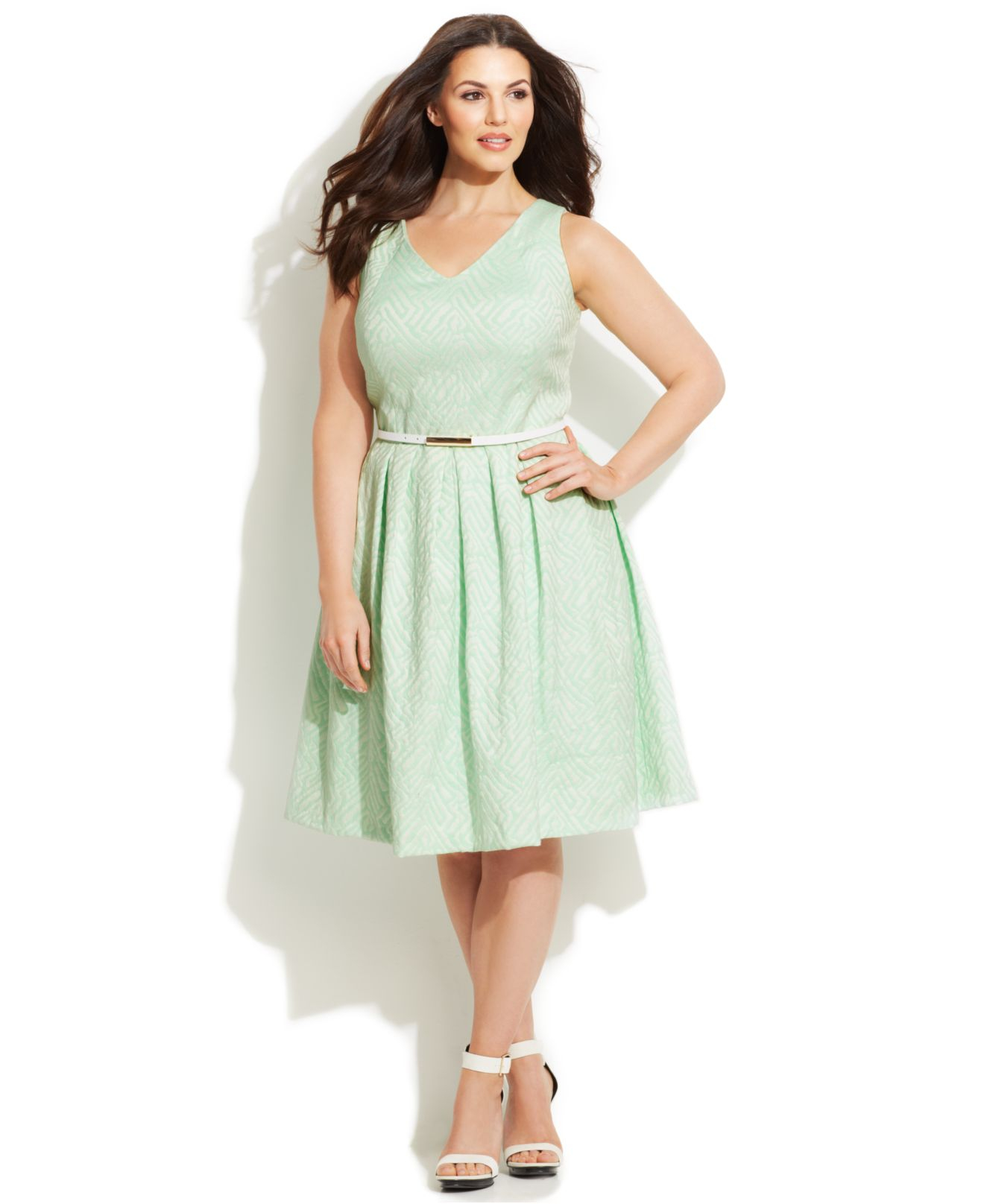 Plus Size Jacquard Belted Dress