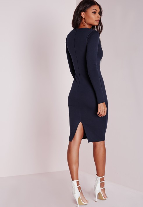 6b84a4704d1d Lyst - Missguided Ponte Long Sleeve Plunge Midi Dress Navy in Blue