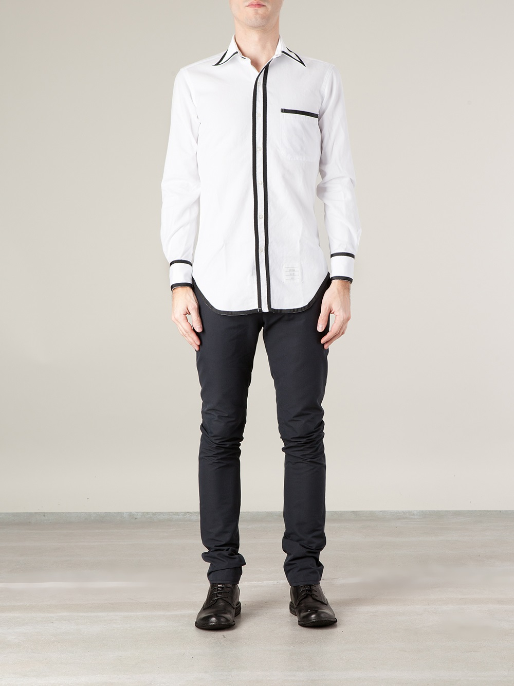 Thom Browne Contrast Trim Shirt in White for Men