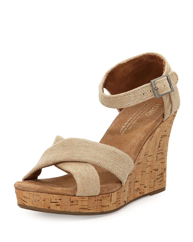 toms fabric cork wedge sandal in beige lyst