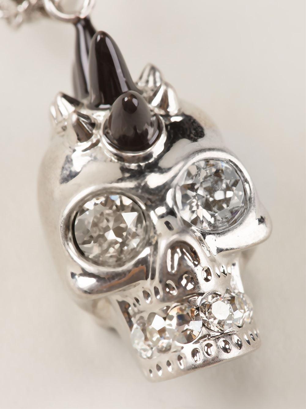 Alexander McQueen Mohican Skull Necklace in Metallic