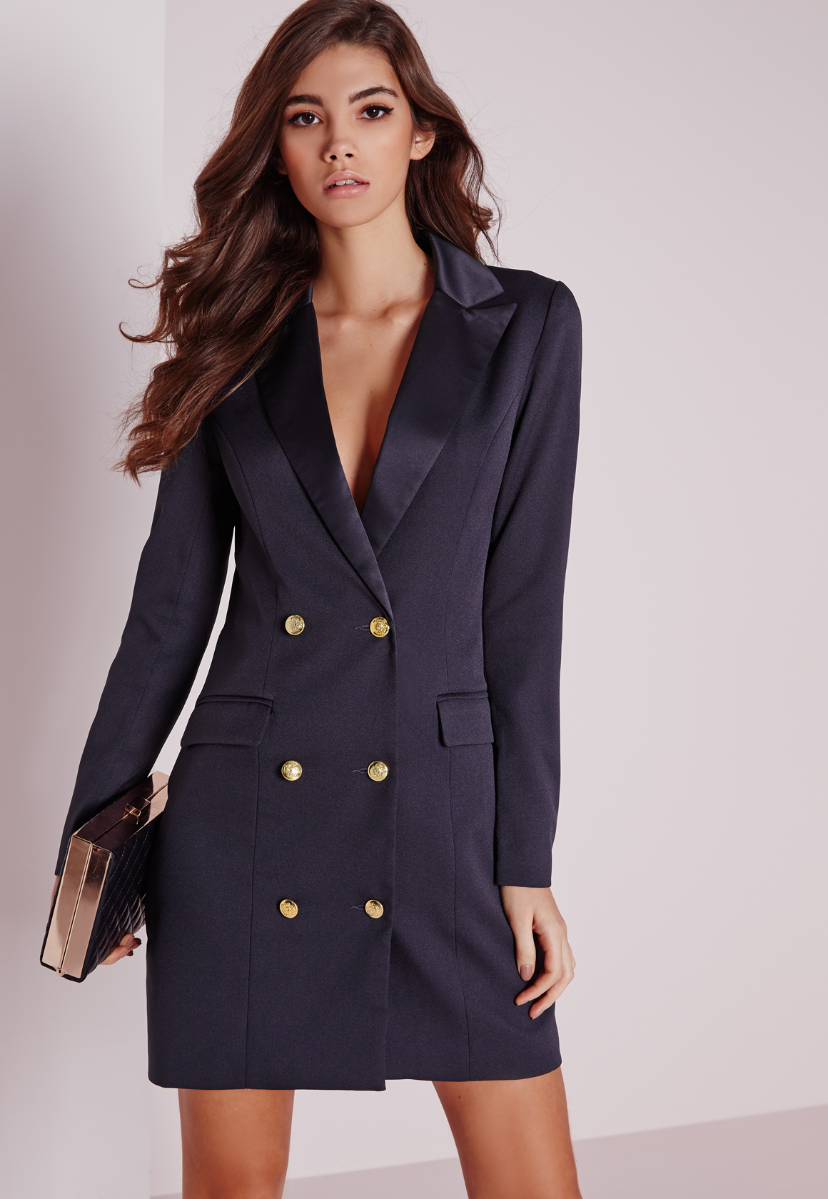 Lyst Missguided Long Sleeve Tuxedo Dress Navy In Blue