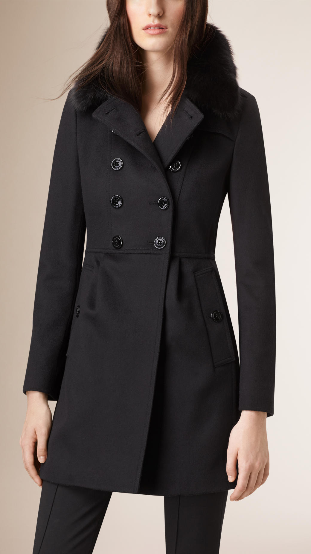 Burberry Virgin Wool Cashmere Coat With Fox Fur Collar in Black | Lyst