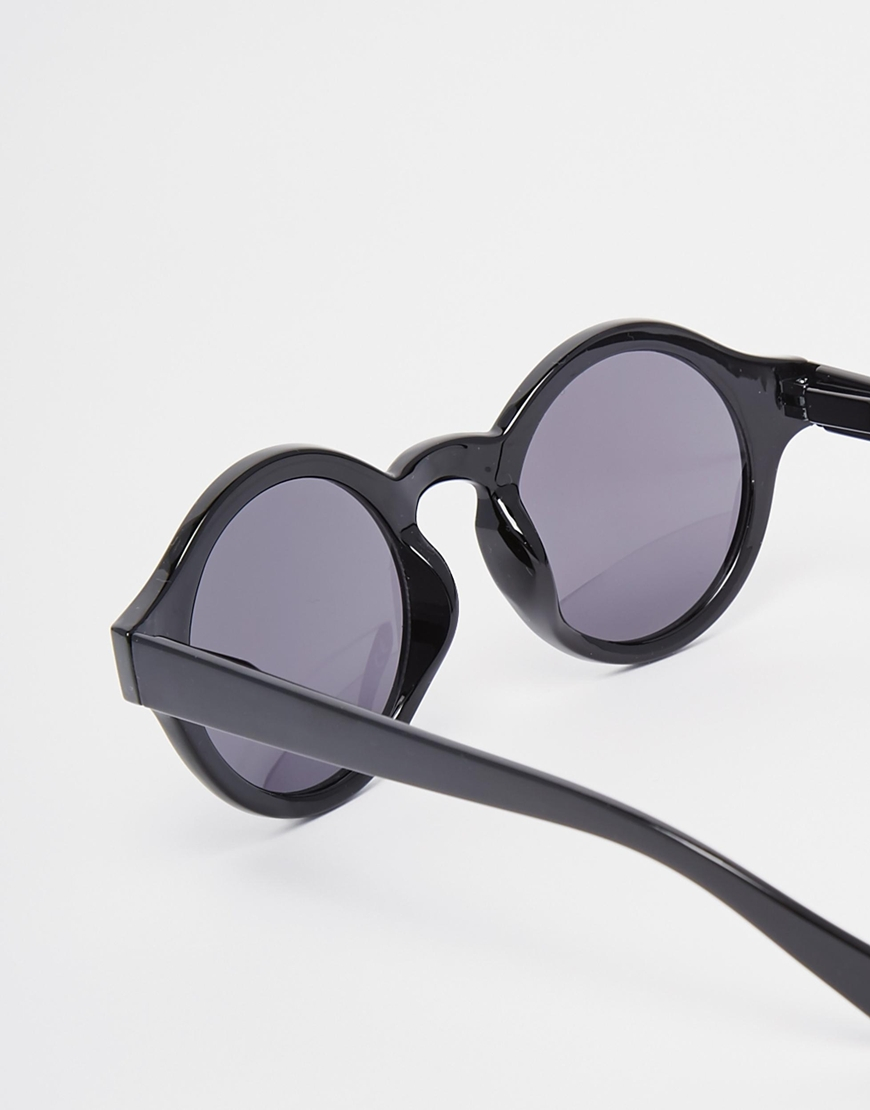 Asos Oversized Round Sunglasses In Black In Black For Men