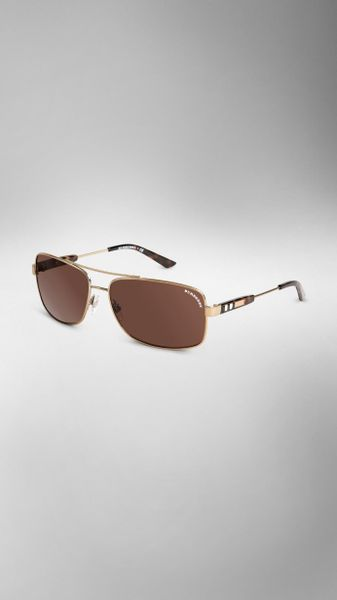 Square Gold Frame Sunglasses : Burberry Check Detail Metal Square Frame Sunglasses in ...