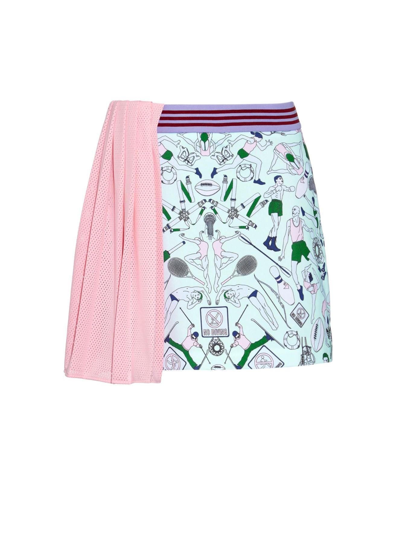Adidas originals People-print Pleated-panel Skirt in Green ...