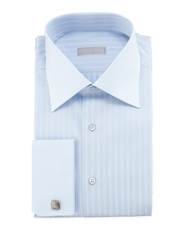Lyst stefano ricci tonal striped french cuff dress shirt for Dress shirt french cuffs