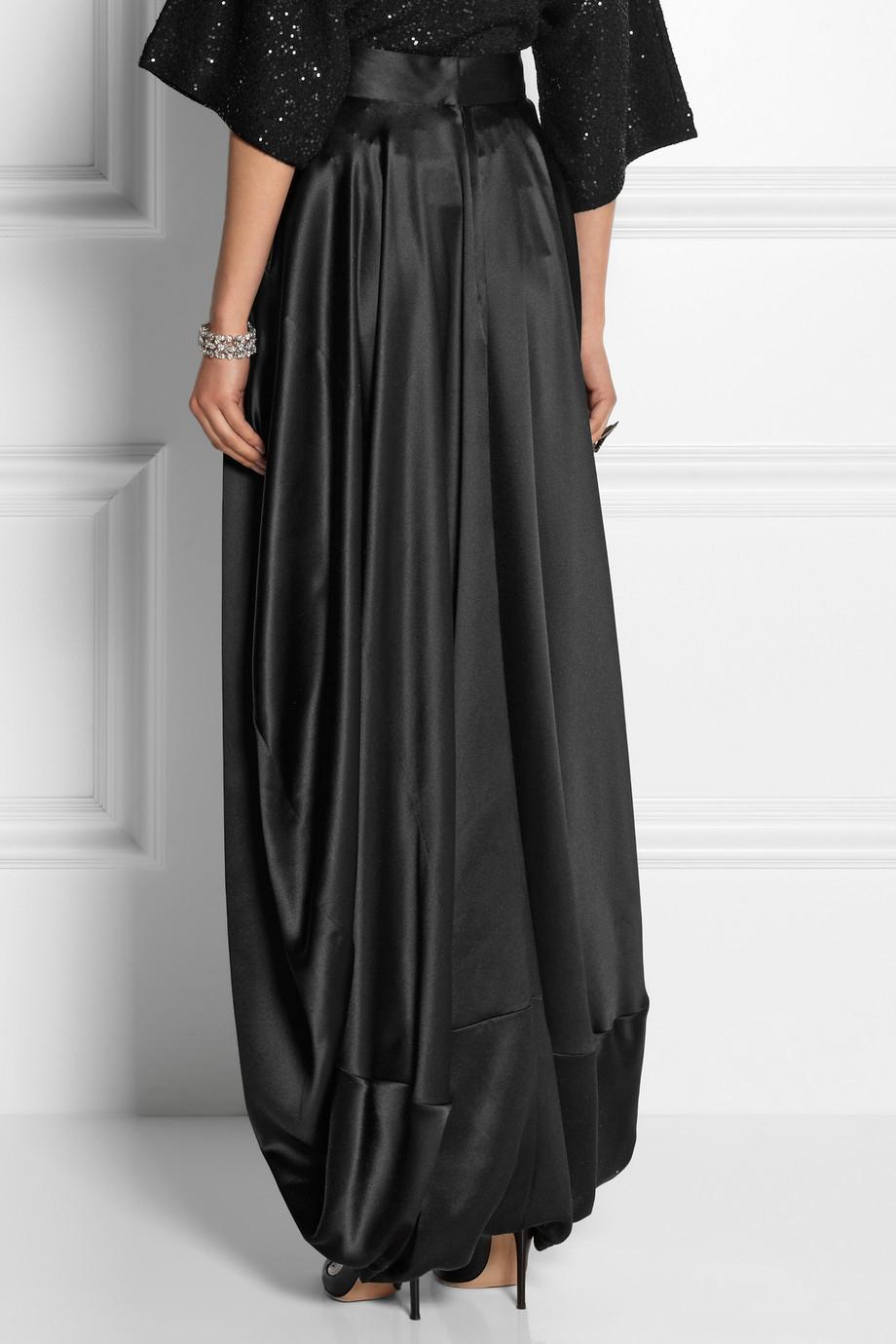 2019 hot sale new appearance fine quality Oscar de la Renta Silk-Satin Maxi Skirt in Black - Lyst